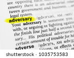 """Small photo of Highlighted English word """"adversary"""" and its definition in the dictionary."""