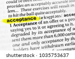 """Small photo of Highlighted English word """"acceptance"""" and its definition in the dictionary."""