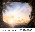 easter sunday concept  empty... | Shutterstock . vector #1035768283