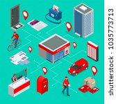 isometric infographics concept... | Shutterstock .eps vector #1035773713