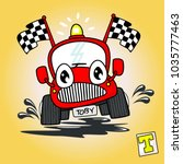 vector cartoon of  racing car | Shutterstock .eps vector #1035777463