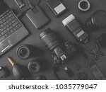 top view of work space... | Shutterstock . vector #1035779047