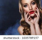 beautiful model girl with long...   Shutterstock . vector #1035789157