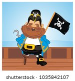 pirate on deck with flag | Shutterstock . vector #1035842107