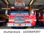Small photo of BOSTON, MA, USA-October 15, 2017: Fire truck ready to respond to emergency