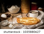 stack of crepes and ingredients ...   Shutterstock . vector #1035880627