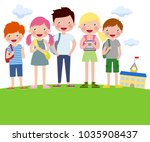 cartoon boys and girls with... | Shutterstock .eps vector #1035908437
