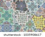 vector patchwork quilt pattern. ... | Shutterstock .eps vector #1035908617