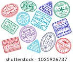 collection of worldwide arrival ... | Shutterstock .eps vector #1035926737