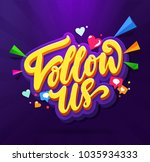 follow us memphis colorful card.... | Shutterstock .eps vector #1035934333
