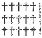 christian cross icons set on... | Shutterstock . vector #1035977917