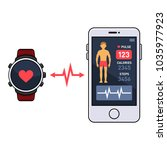 smart watch and smartphone with ... | Shutterstock . vector #1035977923