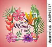 happy mothers day card with... | Shutterstock .eps vector #1035988987
