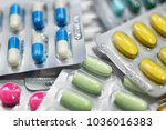 close up of multicolor capsules ...   Shutterstock . vector #1036016383