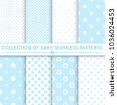 collection of baby seamless... | Shutterstock .eps vector #1036024453