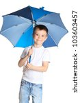 5 years old boy holding blue umbrella, isolated on white background - stock photo