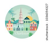 welcome to charlestone poster...   Shutterstock .eps vector #1036054327