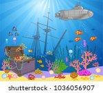 treasure chest in underwater... | Shutterstock .eps vector #1036056907