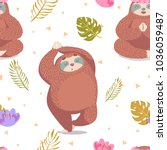 cute seamless pattern with... | Shutterstock .eps vector #1036059487