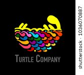 turtle colorful logo  black... | Shutterstock .eps vector #1036070887