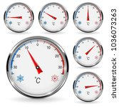 thermometers. round gauge with... | Shutterstock .eps vector #1036073263