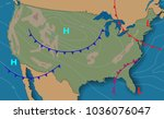 weather map of the united... | Shutterstock .eps vector #1036076047