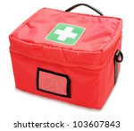 first aid kit isolated against... | Shutterstock . vector #103607843