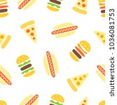 junk food  pizza  burger and... | Shutterstock .eps vector #1036081753