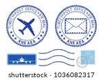 postmarks ankara  turkey. blue... | Shutterstock . vector #1036082317