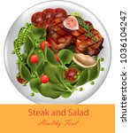 steak and spinach salad vector... | Shutterstock .eps vector #1036104247