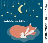 vector card with sleeping fox... | Shutterstock .eps vector #1036115467