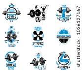 set of vector fitness theme... | Shutterstock .eps vector #1036127167