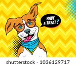 wow pop art dog. funny happy... | Shutterstock .eps vector #1036129717