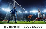 soccer game moment  on... | Shutterstock . vector #1036132993