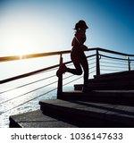 sporty fitness female runner... | Shutterstock . vector #1036147633