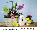 colorful eggs and spring flowers   Shutterstock . vector #1036162897