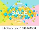 spring sale poster with flower... | Shutterstock .eps vector #1036164553