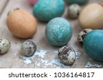close up photo with easter eggs.... | Shutterstock . vector #1036164817