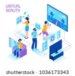 virtual reality isometric... | Shutterstock .eps vector #1036173343