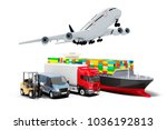 3d world wide cargo transport... | Shutterstock . vector #1036192813