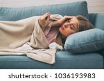 exhausted woman having fever... | Shutterstock . vector #1036193983