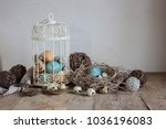 easter composition with nest... | Shutterstock . vector #1036196083