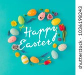 creative easter layout made of...   Shutterstock . vector #1036198243