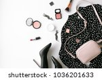woman's flat lay fashion... | Shutterstock . vector #1036201633