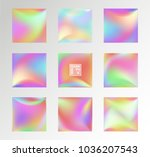 set of holographic vector... | Shutterstock .eps vector #1036207543