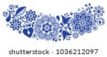 folk art vector round... | Shutterstock .eps vector #1036212097