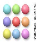 set of realistic eggs on white... | Shutterstock .eps vector #1036216753