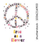 peace symbol made of flowers.... | Shutterstock .eps vector #1036216903