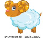 cartoon vector illustration- funny sheep - stock vector