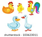 cartoon vector illustration- isolated farm birds on white background - stock vector